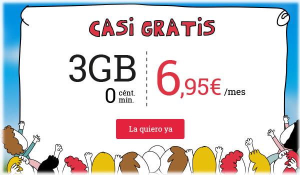 Casi gratis: 3GB, llamadas a 0 cént./min por 6,95€/mes. La quiero.