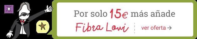 Por solo 15€ más añade Fibra Lowi