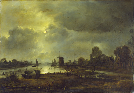 A River Scene by Moonlight