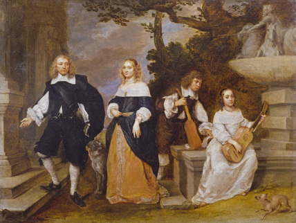 A Family Group by a Fountain
