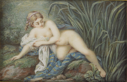 A Woman preparing to bathe in a stream