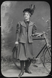 Lantern Slide of a Lady in Rational Dress with Bicycle