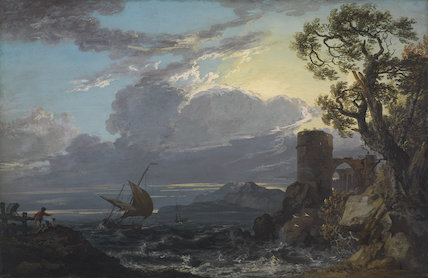 Stormy Sea with Castle Ruin and Figures