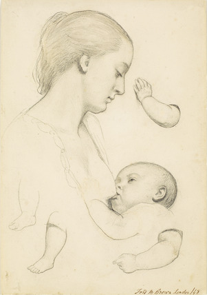 Infant's Repast - Study of a Mother and Child with separate Arm and Leg Studies of the Child