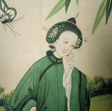Detail of a Chinese woman at a Chinese garden party painted on the wallpaper in the Chinese Bedroom at Belton House