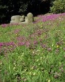 Sculpture 'Woman and Child' by Bridget McCrumb in a field of cyclamen repandum and primroses at Greenway Garden