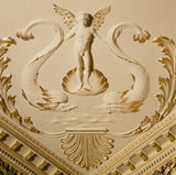 A close up of the intricate and skilled plasterwork to be found on the ceiling of the Saloon at Hatchlands