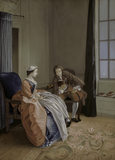THE JUDICIOUS LOVER, an eighteenth century glass painting after Hubert Gravelot in the Drawing Room