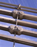 Close-up of the bolts and chains on the Conwy Suspension Bridge built and designed by Thomas Telford