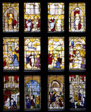 The stained glass window in the Great Hall in Blickling Hall