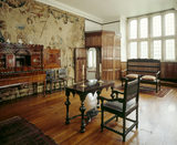 View of the Old Drawing Room showing the screen, window and Dutch walnut cabinet made around 1710