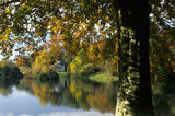 A view across the lake to the Pantheon at Stourhead, with the autumn colours of the trees reflected in the shimmering water