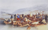 THE EMBARKATION OF THE SICK AT BALACLAVA by William Simpson in sketch-books called 'The Seat of War in the East, 1855-6'