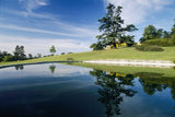 The calm swimming pool at Chartwell, its surface like a mirror, reflecting the warm summer sky