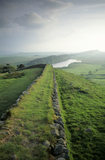 Hadrian's Wall at Hotbank near Housesteads, Crag Lough and Steel Rigg beyond