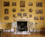 The wall and fireplace in the Print Room at Blickling Hall