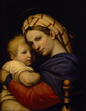 MADONNA AND CHILD, after Raphael (1483-1520), size 25 x 20