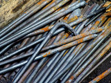 Close view of steel bars at Finch Foundry where they were used in the production of hand tools during the C19th and C20th