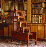 Partial view of library stairs, which fold up to form a chest, supplied by Chippendale in 1767-8 in the Library at Nostell Priory