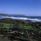 A gentle surf breaking on Pendower Beach, beyond the black rocks, with a distant view to Nare Head