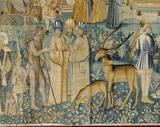 Detail of three men and stags from the tapestry depicting an embassy to Cairo or Istanbul, dated 1545 and probably woven in Tournai, in the Ballroom at Powis Castle