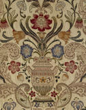 Detail of the floral design on the brocaded bed-hangings in the Gallery Bedroom at Powis Castle