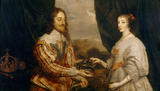 Painting at Trerice - a double portrait of Charles I and Queen Henrietta Maria, after Sir Anthony van Dyck (1599-1641)