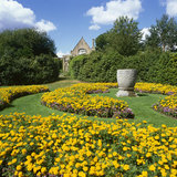 Colourful flower beds in the Sunken Garden at Nymans
