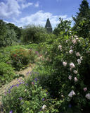 A view looking down a path in the garden at Monk's House, with colourful summer flowers in bloom and a church spire in the distance