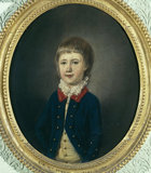 SIR WILLIAM PENNYMAN, Bt. - an oval portrait by a follower of John Downman hanging in the Ante Room.