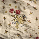 Close view of the embroidery on a Mantua Court Dress
