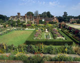 A view over the raised Terrace Walk and Sunken Garden at Packwood House, Warwickshire