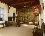 The Queen's Room towards the bed and tapestry at Oxburgh Hall, fifteenth-century moated manor house, King's Lynn, Norfolk