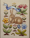 Detail of embroidered panel by Joan Lander featuring a design of a rabbit holding a pennant surrounded by stylized flowers, in the Turret Dressing Room at Sunnycroft