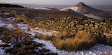 A panoramic snowy view of the pinnacle of Roseberry Topping, North Yorkshire