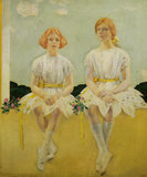 DIANA AND SARAH CHURCHILL AS GIRLS by Charles Sims RA  (1873-1928)