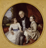 THE GIBBS FAMILY - one of three miniatures by Sir William Charles Ross R.A. 1849 and 1852. William Gibbs with his two eldest children, at Tyntesfield