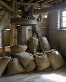Sacks of corn waiting to be ground into flour at Houghton Mill, near Huntingdon, Cambridgeshire