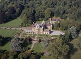 Aerial view of Tyntesfield showing the South front and the parkland and woodland surrounding the house