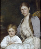 PORTRAIT OF THE 3RD EARL OF MORLEY'S WIFE AND SON by Ellis Roberts in the North Stairs at Saltram