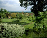 View east across the estate at Chartwell, former home of Sir Winston Churchill, past the cottages to the house