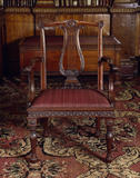 Nostell Priory, The Library, one of the six lyre back chairs