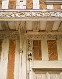 Details of the timber carving (turn of the century figure) on the front of the house