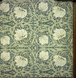 Detail of Pimpernel Wallpaper designed by Morris & Co  in the Billiard Room at West Wightwick Manor