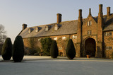 A frosty sunrise over the main house at Sissinghurst Castle Garden, near Cranbrook, Kent
