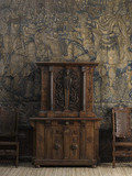 Two-tier cabinet with round-arch openings in the Withdrawing Chamber at Hardwick Hall, Derbyshire