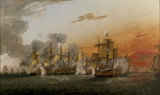 A painting of the BATTLE OF THE SAINTS, 6.30PM by Thomas Luny (1759-1837)