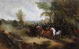 QUEEN VICTORIA AND HER SUITE RIDING OUT IN WINDSOR GREAT PARK, 1839,  by Richard Barrett Davis (1782-1854), painting in the Saloon at Plas Newydd, Anglesey