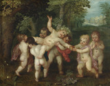 "PUTTI ENACTING A BACCHANALIAN SCENE by ""Octavo Rene"" (Otto van Veen) (1556-1629), painting in the Green Closet at Ham House, Richmond-upon-Thames"