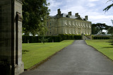 The drive and eighteenth century neo-classical mansion at Buscot Park, Oxfordshire